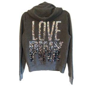 VS PINK | Dark Gray sequin bling hoodie